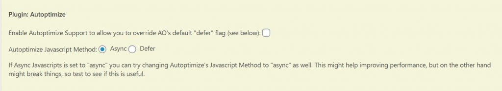 async javascript setting for autoptimize
