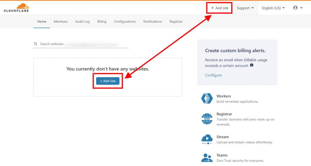 cloudflare add new site button