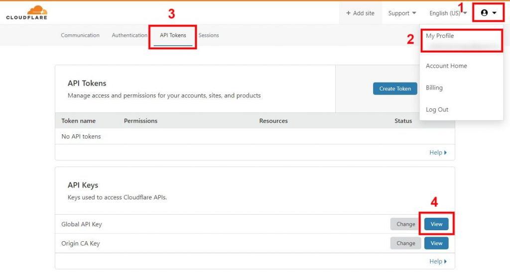 cloudflare api tokens page global api key