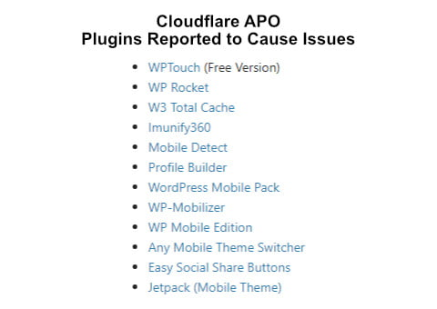 cloudflare apo plugins reported to cause issues