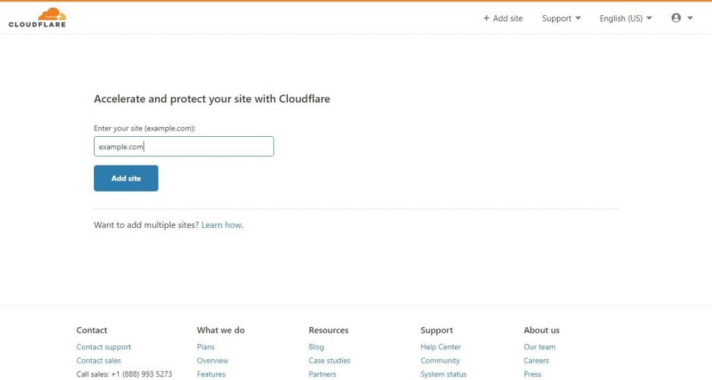cloudflare enter new site page