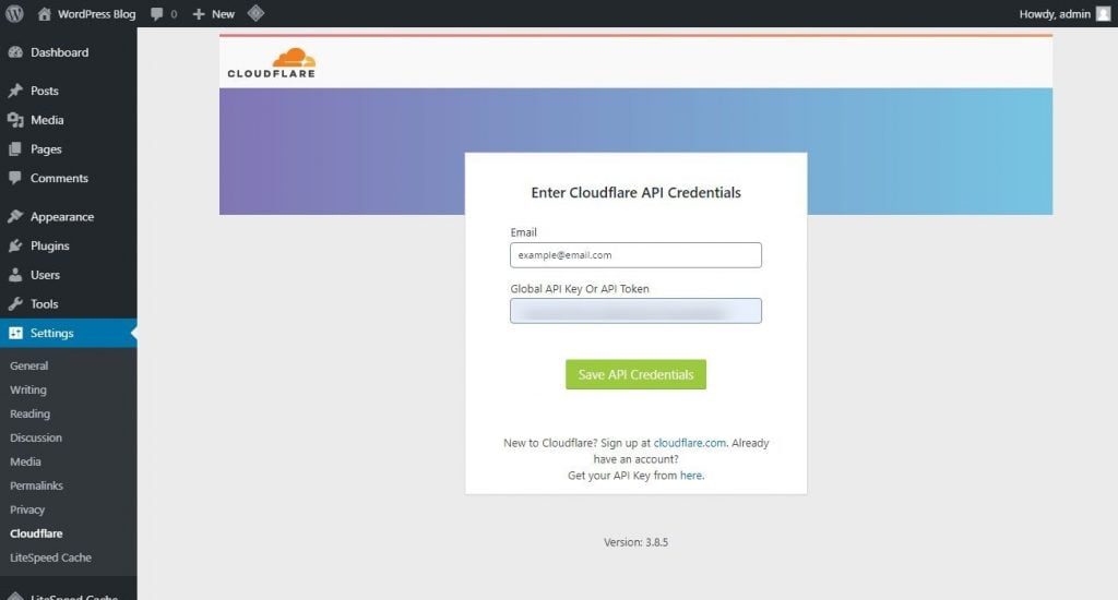 cloudflare plugin enter coudflare api credentials page