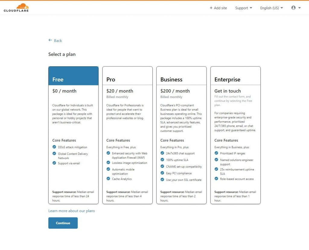 cloudflare select a plan page