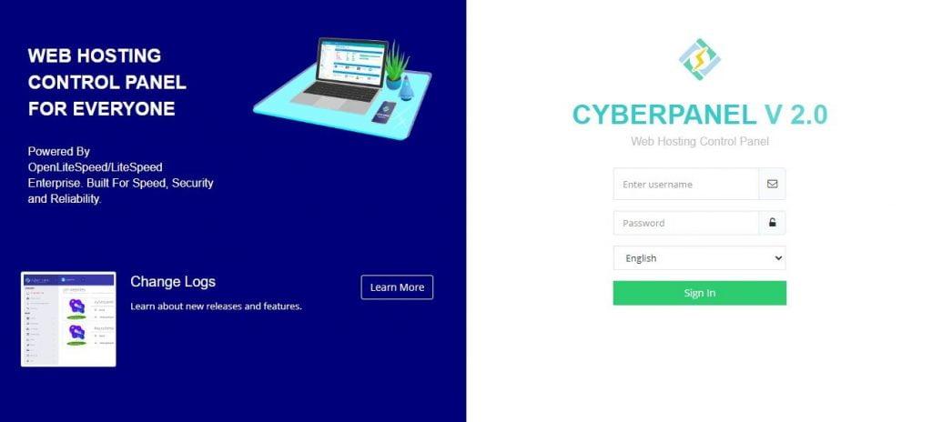 cyberpanel login page