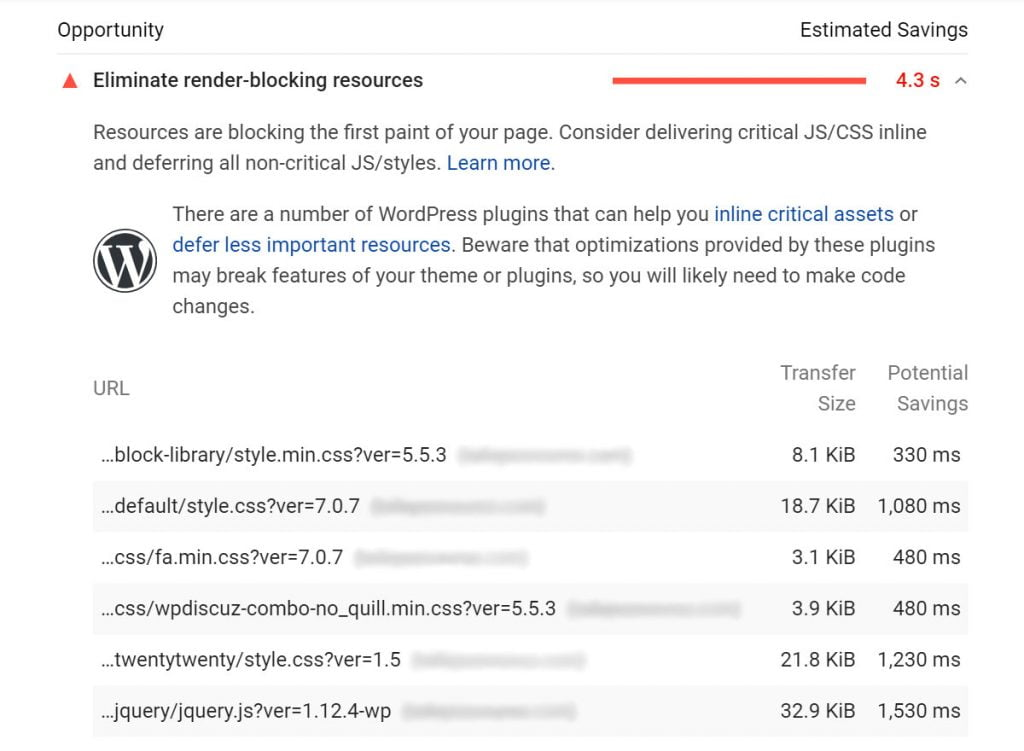 eliminate render blocking resources google pagespeed insights warning