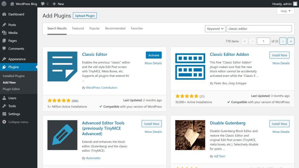 Install Classic Editor Plugin WordPress