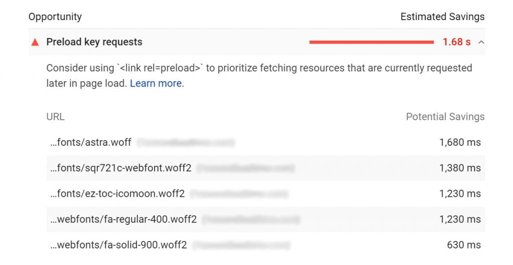 preload key requests google pagespeed insights warning
