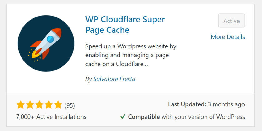 wp cloudflare super page cache plugin install and activate