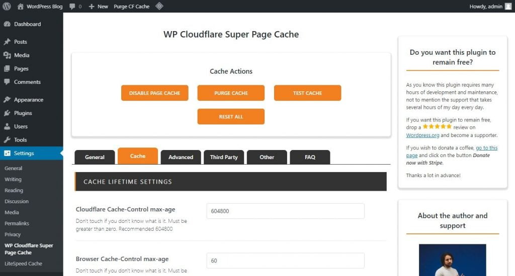 wp cloudflare super page cache settings cache tab
