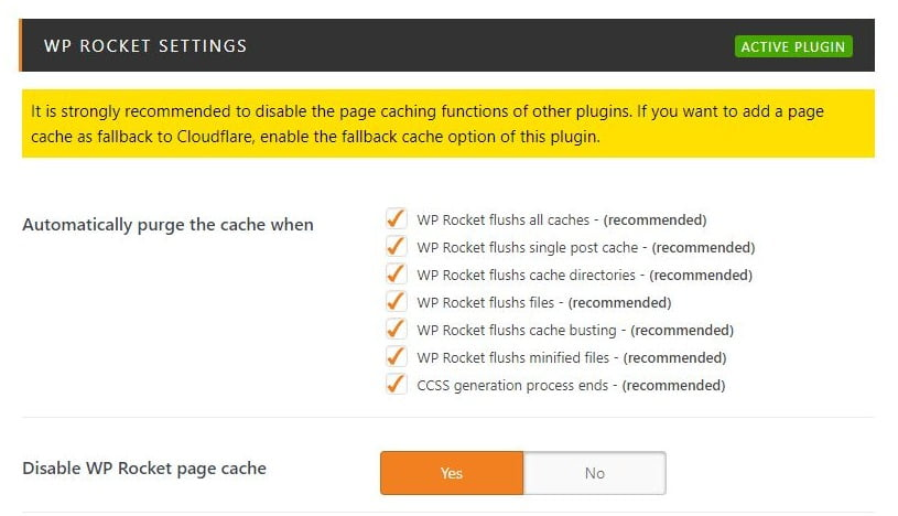 wp cloudflare super page cache wp rocket settings