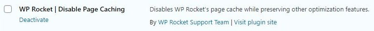 wp rocket disable page caching helper plugin
