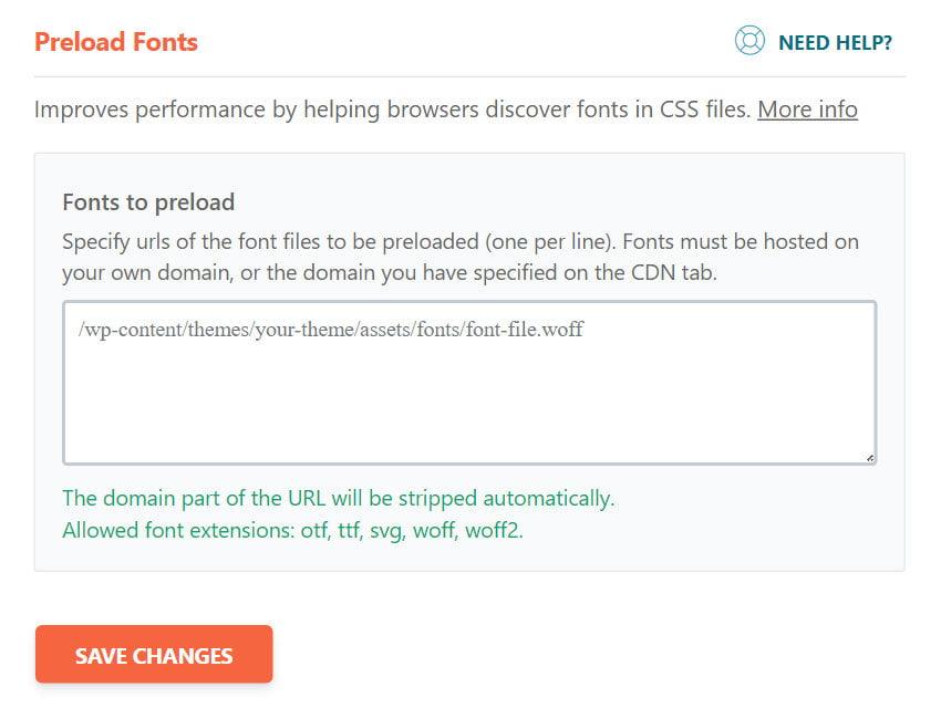 wp rocket preload fonts